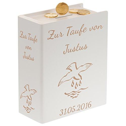 Sparbuch zur Taufe (weiß) - personalisierte Taufgeschenke für Jungen & Mädchen von Paten - ein schönes Taufgeschenk/Geldgeschenk mit Gravur - persönliche Spardose für Geld