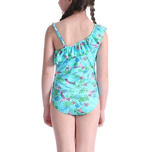 Perfashion Mädchen Ein Stück Badeanzug für Kinder Blumenmuster Rüschen