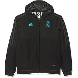 adidas Pre Jkt y Chaqueta con Diseño Real Madrid Temporada 2017/2018, Niños, Negro (Gripur), 152