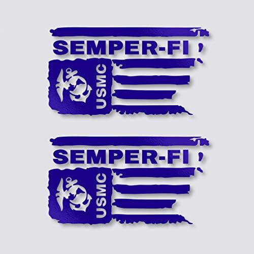 Kramer sticker's shop Distressed USMC United States Marine Corps Flagge Semper-FI Vinyl Aufkleber (Motorrad-helm-veteran)