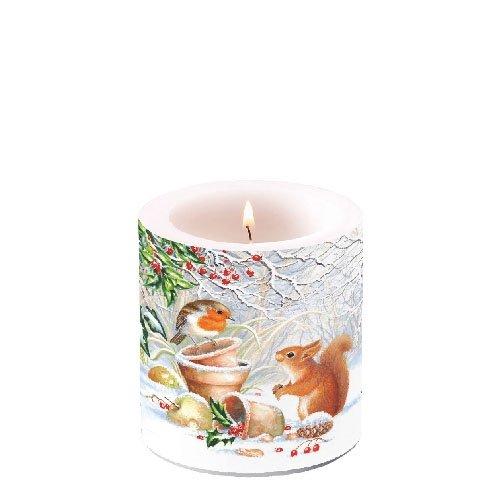 Dekorative Weihnachtskerze 'Winter Picture' Stumpenkerze 10x7,5cm Kerze Weihnachten Advent Weihnachtsdeko Adventskranz