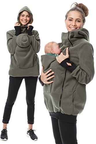 GoFuture Damen Tragejacke für Mama und Baby Känguru Klassiker VIVA GF2301 Grün mit Hundemuster auf Grün
