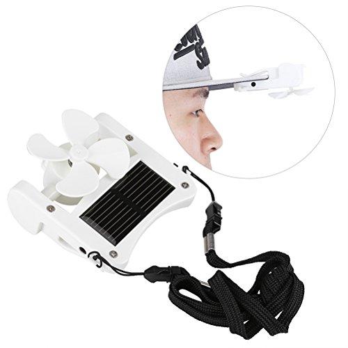 OUNONA Mini ventilador solar con capucha, abanico de refrigeración USB para montaña, escalada, acampada, color blanco