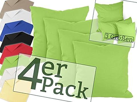 Vierer-Pack zum Super-Preis! Renforcé-Kissenbezüge aus 100% Baumwolle – schlicht und edel im Design, universell einsetzbar und kombinierbar - in 8 Uni-Farben, 40 x 40 cm, grün