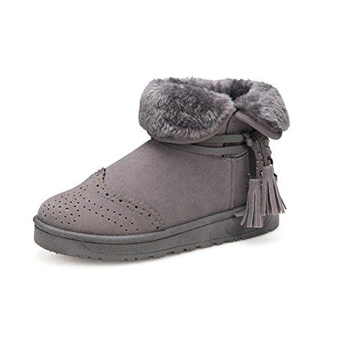 Cuir bottes hiver/ bordées de rivet tube court bottes/Chaussures femmes plates la neige A