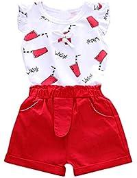 Counjunto de Ropa Bebé Niña Verano 2pc Tops Manga de la Mosca Dibujos Animados Letra Impresa + Pantalones Cortos Trajes Conjunto de Ropa para Bebés Niños 0-4 años
