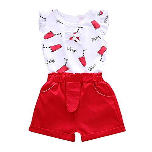 MRULIC Baby Mädchen Outfits Kleidung Bowknot Weste Tops + Plaid Shorts Hosen Sets Anzug 1-6 Jahre(X3-Rot,100)