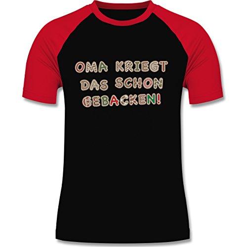 Weihnachten & Silvester - Oma kriegt das schon gebacken! - zweifarbiges Baseballshirt für Männer Schwarz/Rot