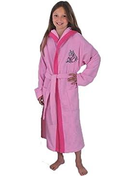 Kinder Bademantel Kinderbademantel mit Kapuze Stickerei Pferd Farbe Rosa Größen 128 - 176, 100% Baumwolle