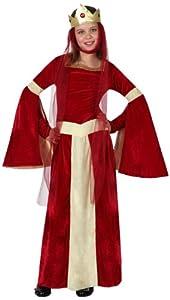 Atosa-15879 Disfraz Dama Medieval, Color rojo, 10 A 12 Años (15879