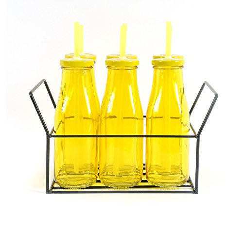 Bottle with Metal Lid/ Stand & Straw Set of 6 - @home by Nilkamal, Yellow  available at amazon for Rs.399