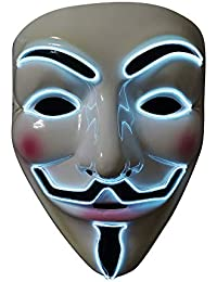 SOUTHSKY Lumière Masques LED Masque V Vendetta Masque EL Fil s'allume pour Halloween Costume Cosplay Party