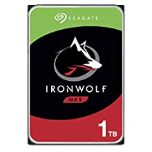 Seagate 1 TB IronWolf 3.5 Inch Internal Hard Drive for 1-8 Bay NAS Systems (5900 RPM, 64 MB Cache, 180 TB/year Workload Rating, Up to 180 MB/s, Model: ST1000VNZ02/VN002)