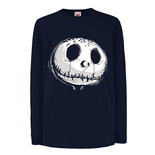 Kinder-T-Shirt mit Langen Ärmeln beängstigend Schädel Gesicht - Alptraum - Halloween-Party-Kleidung (14-15 Years Blau Mehrfarben)