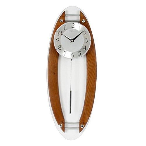 Wm.Widdop W7850 - Reloj de pared con péndulo, madera y acabado de cristal