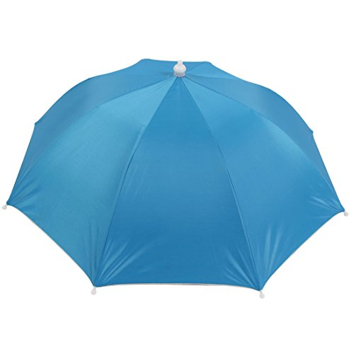 Sonne Regenschirm Schirmhut Hellblau Silber 8 Rippen Angeln Golf Kappe