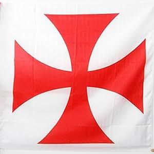 DRAPEAU TEMPLIERS ORDRE DU TEMPLE 90x90cm - DRAPEAU CROIX PATTEE ROUGE 90 x 90 cm Fourreau pour hampe - AZ FLAG