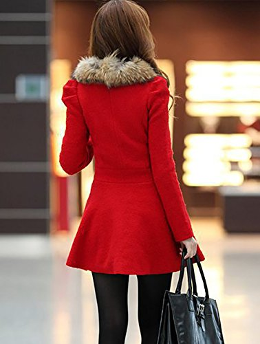 Keral Frauen Doppelbrust Pelzkragen Schlank Reine Farbe Mantel Rot