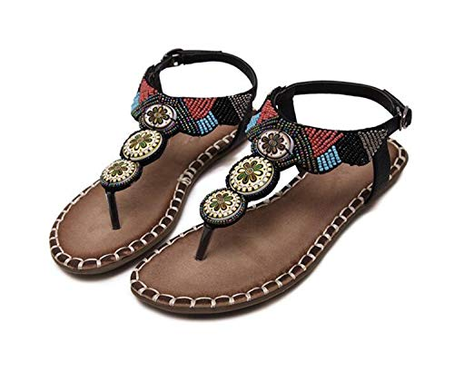 Sexy&live Summer Shoes Woman Flats Sandals Women Casual Beach Sandals Flip Mixed Color Bead Black 6.5 -