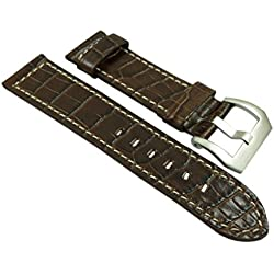 26mm Calf leather watch strap band in alligator-design brown with buckle in silver