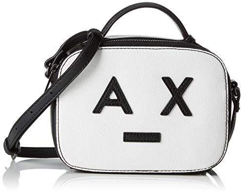 Armani Exchange Damen Small Crossbody Bag With Logo Umhängetasche, Weiß (White/Black), 13.5x6.5x18 cm