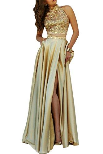 ivyd ressing robe col montant fente 2PARTIE Party Prom robe robe du soir Or - Doré