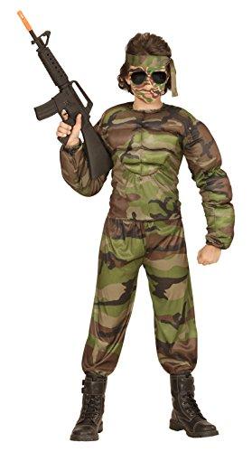 WIDMANN Super Soldato Muscoloso Camiciamuscoli Pantaloni Fascia per Testa 371 per Adulti, Multicolore, 140 cm / 8-10 anni 8003558005178