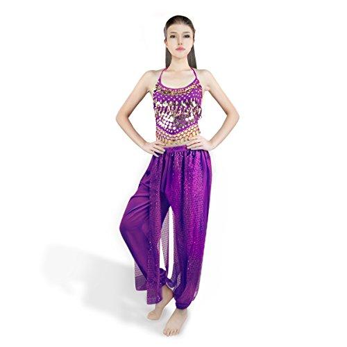 SymbolLife Belly Femmes de Lady danse indienne mousseline Banadge Haut Avec Chest Pad + pantalons courts Hanging Bells et des Monnaies Mauve