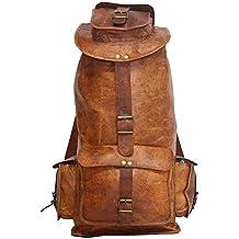 Asha Art & Crafts Leather 15 Liters Brown Rucksack
