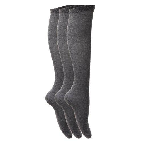 Calcetines lisos largos hasta rodilla niña pack 3