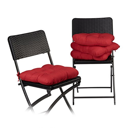 Relaxdays Stuhlkissen 4er Set ca. 40x40 cm Sitzkissen mit Schleife, Auflage für Stühle in Haus und Garten, ca. 10 cm dick, besonders weich, waschbar, Polyester, rot