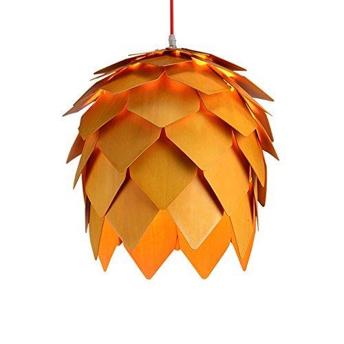 Deed lampadario a sospensione in legno massello a canapa lampadario soggiorno camera da letto ristorante creativo led log pino frutta lampadario e27 illuminazione,40 * 46cm