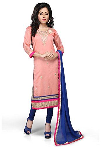 Utsav Fashion Embroidered Cotton Chanderi Straight Cut Suit in Peach Color