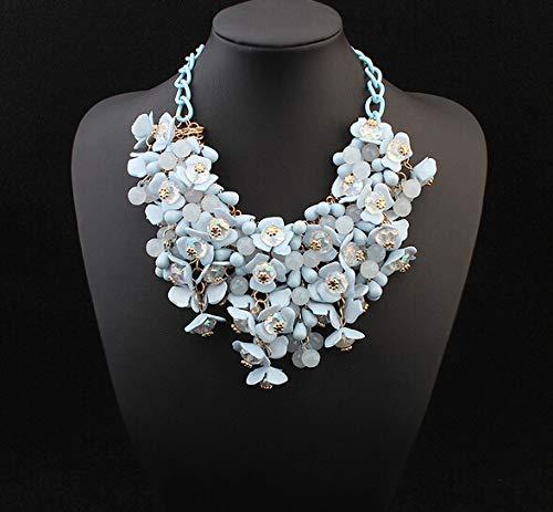 FGTYJ Halskette Schmuck 3 Farbe Perlen Blume Gold Choker Colar Halskette Für Frauen Schmuck