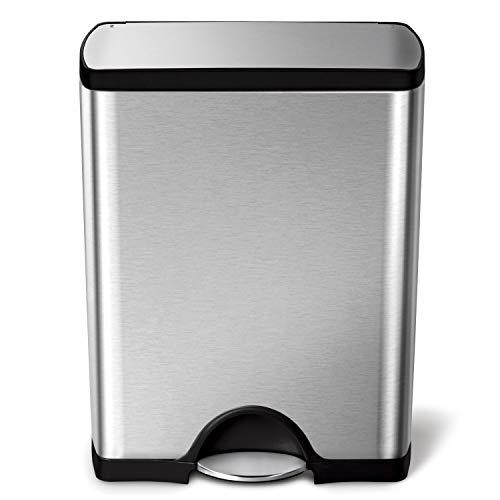 simplehuman CW1816 poubelle rectangulaire à pédale, acier inox brossé anti-traces 50 L