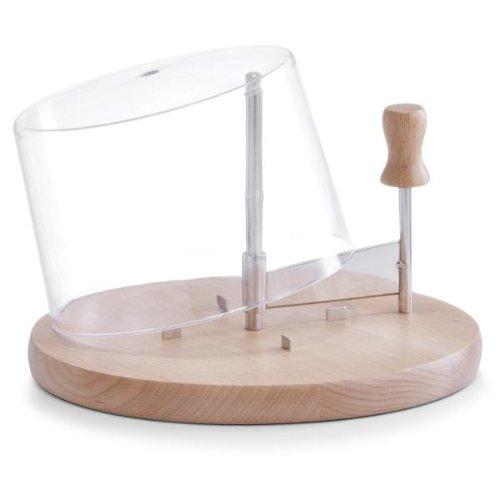 Käsehobel Käseschneide-Set aus Holz und Edelstahl mit Käseglocke aus Kunststoff