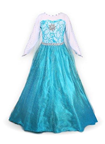 Mädchen Prinzessin Schneeflocke Süßer Ausschnitt Kleid Kostüme, 128-134, Blau (Prinzessin Kostüm Elsa)