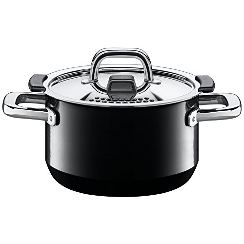 Silit Nature Black Topfset 4-teilig mit Metalldeckel, Silargan Funktionskeramik, induktionsgeeignet, spülmaschinengeeignet, schwarz