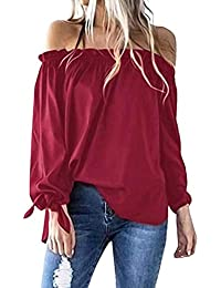 Lonshell Mujer Casual Sin Tirantes Manga Larga Irregular Dobladillo Camiseta Barco Cuello Túnica Superior Hombro Frío