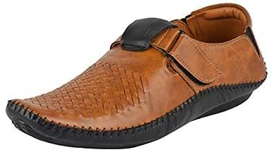 LeeGraim Men's Beige and Black Loafers - 10 UK, LEEGRI0041-10