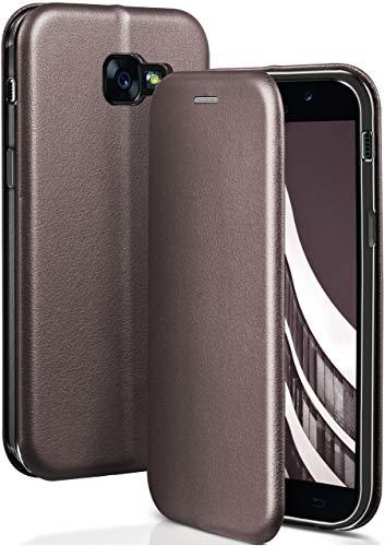 ONEFLOW Samsung Galaxy A5 (2017) | Hülle Anthrazit-Grau mit Karten-Fach 360° Business Klapp-Hülle Handytasche Kunst-Leder Handyhülle für Samsung Galaxy A5 2017 Flip Case Cover Tasche Schutzhülle