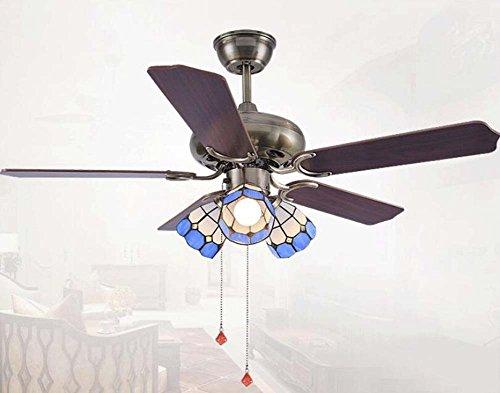 Ventilador de Techo De LED con lámparas de estilo Tiffany Luz multifunción A tres File ventilador...