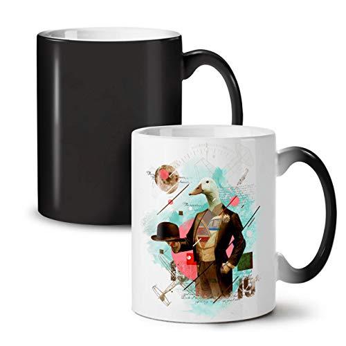 Baby Tasse Kaffee Kostüm (Wellcoda Vogel Ente Gans Tier Farbwechselbecher, Vogel Tasse - Großer, Easy-Grip-Griff, Wärmeaktiviert, Ideal für Kaffee- und)
