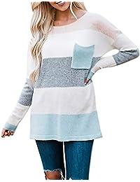 MYMYG Damen Patchwork Langarmshirt Long Sleeve Striped Sweater Oversized Gestrickte Tasche Jumper Pullover Top Baumwolle Hemden Solide Freizeit Tops Oberbekleidung