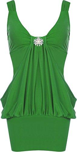 WearAll - Damen Lange Elastisch Wasserfall Top Kleid - 9 Farben - Größe 44-50 Jade
