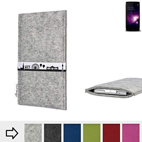 flat.design für Doogee S50 Schutz Tasche Handyhülle Skyline mit Webband Wien - Maßanfertigung der Schutz Hülle Handytasche aus 100% Wollfilz (hellgrau) für Doogee S50