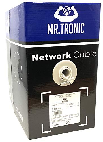 Mr. Tronic 305m Cable de Instalación Red Ethernet Bobina | CAT5E, AWG24,...