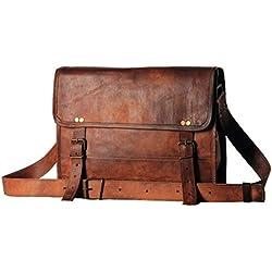 Bolsa de cuero de 30 y 35cm para hombre, bandolera de piel auténtica para universidad, ordenador portátil Macbook Air Pro, iPad, bolsa estilo maletín para tableta