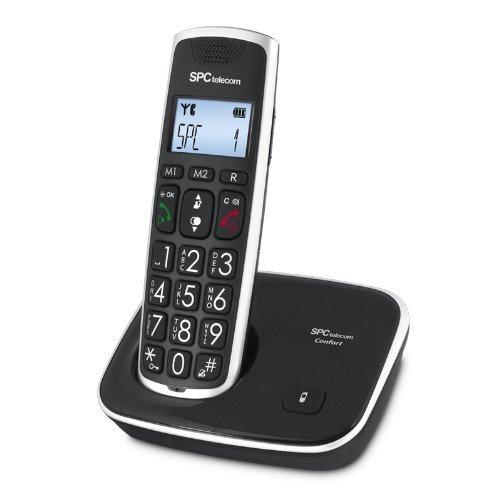 SPC Comfort Kaiser - Teléfono inalámbrico (identificación de llamadas, agenda de 20 nombres y números, pantalla iluminada, teclas grandes, amplificación extra, manos libres), negro