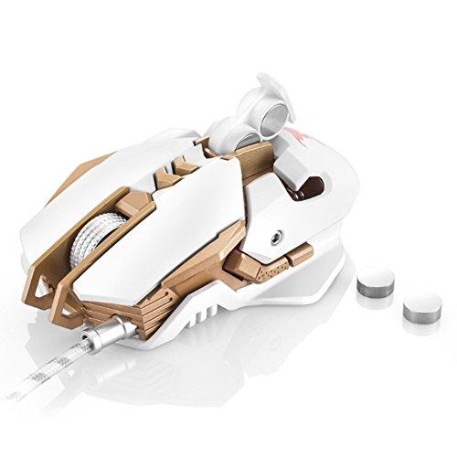 sinoband CW30Wired Gaming Maus 7Tasten Lasermaus 1.000Hz Gewicht Tuning 4Farbe Breathing LED-Licht, Weiß